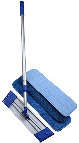 Sinland scopa mop mocio cattura polvere, maniglia in alluminio, girevole a 360 ° senza resistenza, con 3 rilievi mop libero panno in microfibra sostituibile