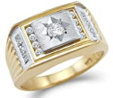 Size- 12.5 - Solid 14k Yellow and White Gold Two Tone Mens Wedding CZ Cubic Zirconia Ring 0.75 ct