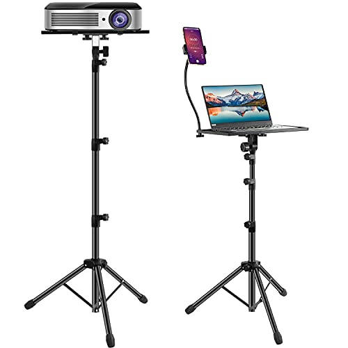 Projector Laptop Stand,Computer Stand with Phone Holder,Adjustable Height Laptop Tripod,Outdoor Foldable Dj Equipment Holder Mount Apply to Stage Or Studio (18-63 INCH)