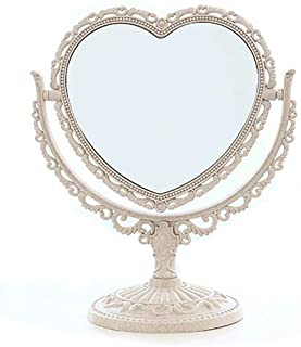 Makeup Mirror Vanity Cosmetic Magnifying Mirror Double-Sided Heart-Shaped Mirror for Home Bedroom Bathroom 360 Degree Swiv...
