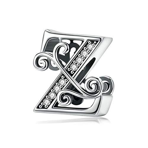 XUML Echt 925 Sterling Zilver Letter Alfabet Bedel Naam Kraal Fit Armbanden Hanger Sieraden Maken BNC030 Z