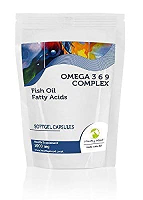 Omega 3 6 9 Complex 1000mg Fish Oil Fatty Acids )mega-3-6-9 Health Food Supplement Vitamins 60 Softgel Capsules Flaxseed Oil Sunflower Seed Oil Vitamin E Nutrition Vitamins HEALTHY MOOD from Healthy Mood