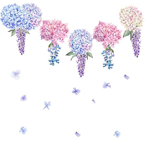 Amaonm Creative Removable 3D Light Blue Purple Pink Lavender Flower Wall Decals Floral Wall Sticker DIY Peel and Stick Art Decor for Living Room Kids Bedroom Baby Girls Nursery Rooms Wall Corner