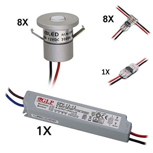 VBLED® 8er Set 1W Mini-Einbauspot, Mini Spot IP65 Warmweiss Inkl.12W LED Trafo 12V DC, IP67 (Erweiterbar bis zu 10 LEDs) [EEK A++]