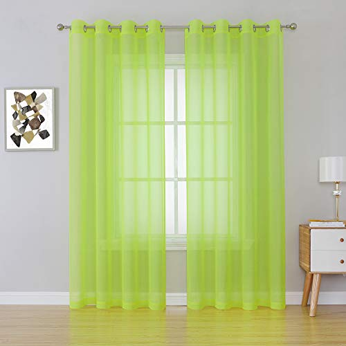 Lime Green Sheer Curtains - Grommet Voile Sheer Drapes Airy Curtain Panels with Light Filtering Window Treatment for Boy's Bedroom(2 Pieces,54 Wide x 84 Long inches)