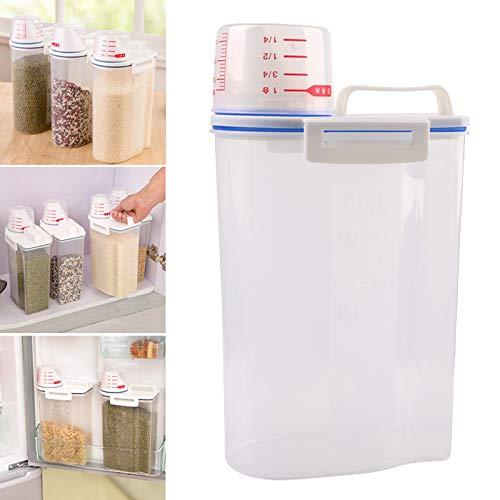 2L Locking Clear Food Jars Storage Box Food Grain Container Sugar Rice Pasta