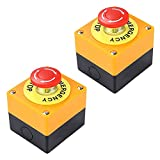 Botón de parada de emergencia de 22 mm Muestra roja de la seta Push Switch AC 660V 10A Auto bloqueo parada de la estación Box 2 piezas