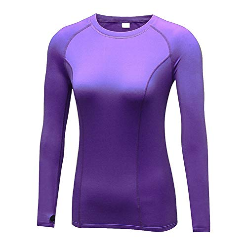 Vrouwen Compressie Tops Lange Mouw Basislaag Hardlopen Gym Yoga Fitness Warm T Shirt M Paars