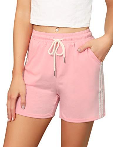 Pantalones Cortos Deportivos para Mujer Entrenamiento Yoga Verano para Hacer Ejercicio Trotar Gimnasio Pijamas Interior Casual Suelto Elástico con Banda