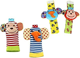 Cute Animal Soft Baby Socks Toys for Infant Wrist Rattle and Foot Finder Socks Set Developmental Soft Animal Rattles Gift ...