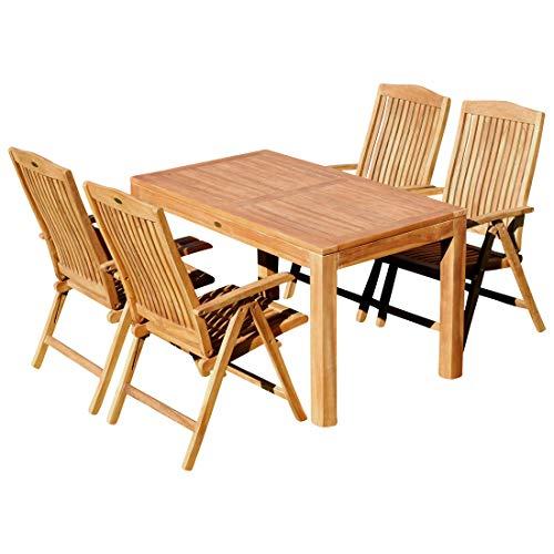 AS-S AS-S Teak Set Gartengarnitur Bigfuss Tisch 140x80 cm und 4 Tobago Sessel Serie JAV