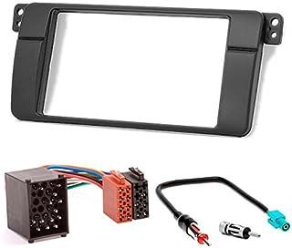 carav 10 498 3 67 Doppel DIN Autoradio Radioblende Einbauset DVD Dash Installation Kit für 3er 3 Serie (E46) 1998–2005 Faszie mit 173 * 98 mm + ISO Adapter + Antennenadapter fakra