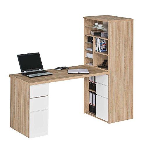 Pharao24 Schreibtisch mit Regalwand Eiche Sonoma Weiß