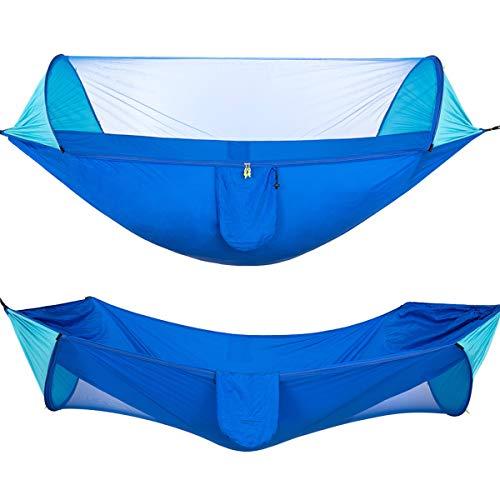 DaMohony Hamaca de camping plegable portátil doble o individual colgante con mosquitera para senderismo al aire libre, 1449959/120814UKVJJ, azul