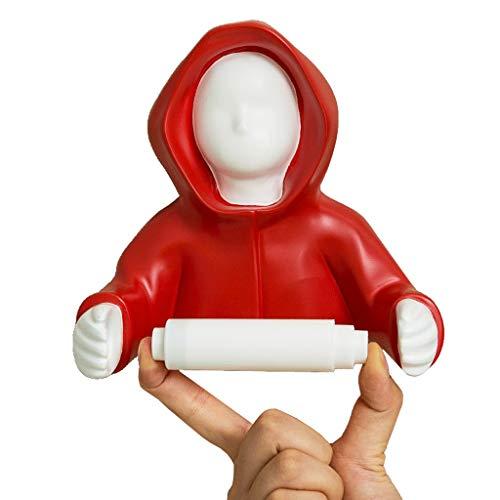 Porta Carta Igienica Divertente Man Holding Porta Carta Igienica No Foratura Porta Rotolo Di Carta Igienica Accessori Da Bagno (Color : Red)