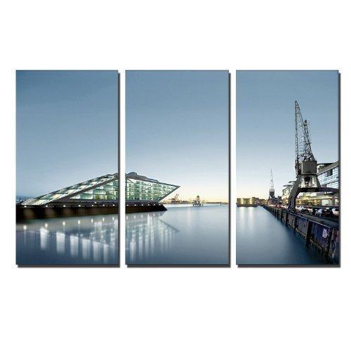 Hamburger Hafen Dekobild auf Leinwand (Hamburg Docklands 3x40x80cm) Städtebild Bilder fertig gerahmt auf Keilrahmen xxl. Kunstdruck auf Leinwand. Günstig inkl Rahmung
