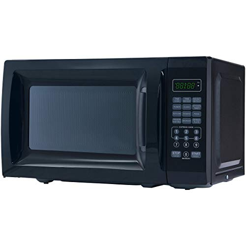 Mainstay 0.7 cu ft. 700-Watt Microwave, Black with 10 Power Levels (L x W x H) 19.21 x 14.96 x 11.46 Inches