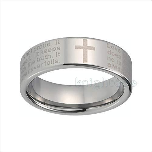 LIDAYE Anillo de tungsteno Grabado con Cruz de Las Escrituras orando Comfort Fit 6.5