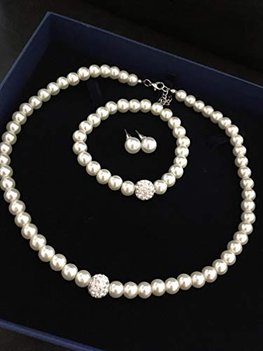3 er SET Brautschmuck Perlen Perlenkette Haarschmuck Hochzeit Strass ivory elfenbein Armband