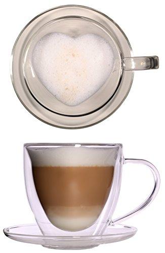 350 ml Grande tasse double paroi verre thermique Cœur avec – élégantes et extra large Verre Dessous de Tasse à thé/tasse à café avec effet en suspension, verre Mug avec forme de cœur intérieur, anse et soucoupe CELIS Simo à Noël, la Saint-Valentin, Fête des Mères