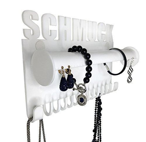 Galeara design New Schmuckaufbewahrung hängend Wand Ohrringe Ketten Schmuckhalter Schmuckständer Armbandhalter (Schmuck - Weiß)