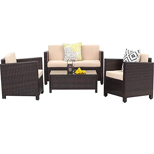 Wisteria Lane Outdoor Patio Furniture,4 Piece Patio Seating All-Weather Wicker Conversation Set with Cushion, Brown