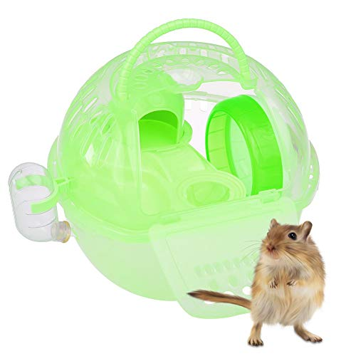 Jayson Tragbarer Hamsterkäfig für Hamster, tragbar, praktisch, aus Kunststoff, langlebig, Hamsterkäfig, mit Rutschen-Design und Futtertank für Wüstenmäuse, Hamster, Kleintiere, Weiß