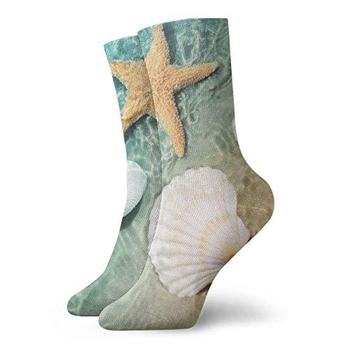 QUEMIN Freundin Starfish und Seashell am Summer Beach Unisex Bequeme Crew Socken Casual Socke für Sport Wandern Laufen 11,8 Zoll / 30 cm