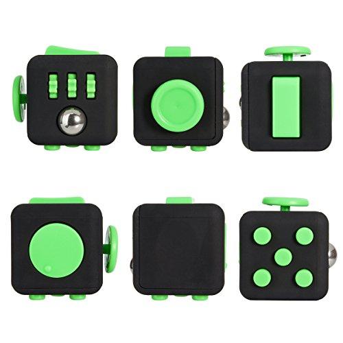 Fidget Cube Alleggerisce lo stress e la paura per bambini e adulti giocattolo regali di Natale (verde nero)
