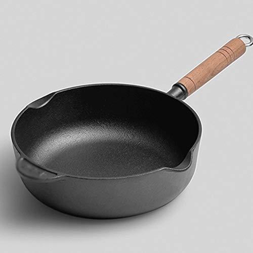 SMEJS Pan de hierro fundido, hierro Pan, moldeada sin recubrimiento inferior Hierro redondo de acero inoxidable Cocinar la cacerola, sartén de hierro fundido