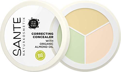 SANTE Naturkosmetik Correcting Concealer 3in1, 3 Farbnuancen zur Abdeckung von Schatten & Makeln, Vegan, 6g