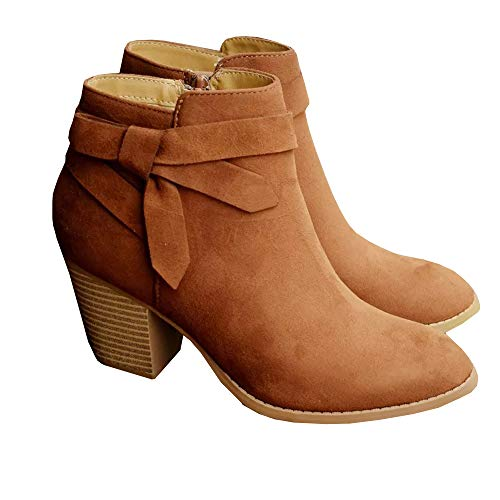 PiePieBuy Women's Ankle Boots Tie Knot Closed Toe Side Zipper Stacked Heel Booties Shoes