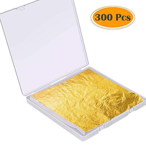 KINNO Gold Leaf Sheets 100pcs Gold Foil Leaf for Gilding Furniture Arts/&Crafts Project Home Decorations Ceramics 5.5 by 5.5 Inches