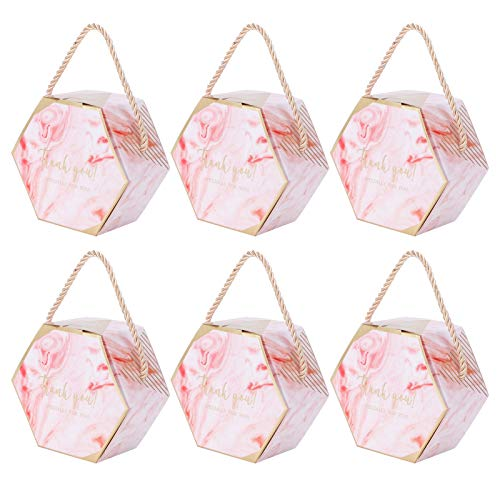 Fdit 10 Set Candy Boxes Bags Hexagonal Chocolate Gift Boxes with Ropes for Wedding Supplies(Pink)