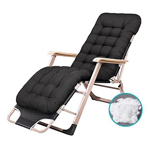 Silla reclinable Zero Gravity Foln Loungers Bed Sillón reclinable con Almohada para la Cabeza, sillón reclinable Relaxe Ajustable para jardín al Aire Libre tio, pport 200kg, Negro