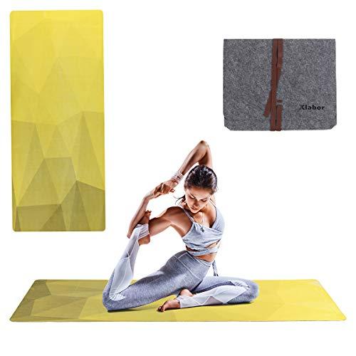 Xlabor Degradado - Esterilla de yoga con fieltro (1,5 mm, 183 x 68 cm), color amarillo