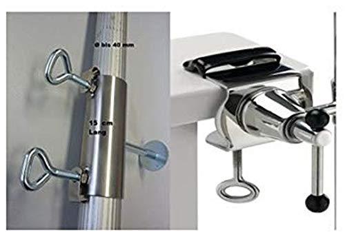 AISI 360 ° Universalgelenkhalterung 40mm Lot de 2 Supports en Acier Inoxydable pour bâtons jusqu'à 40 mm Ø 6 à 11 cm