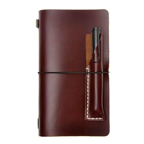 ZLYC klassisches nachfüllbares Tagebuch Handarbeit Reisende Journals Notizblock Federtasche aus Leder, Set von Zwei