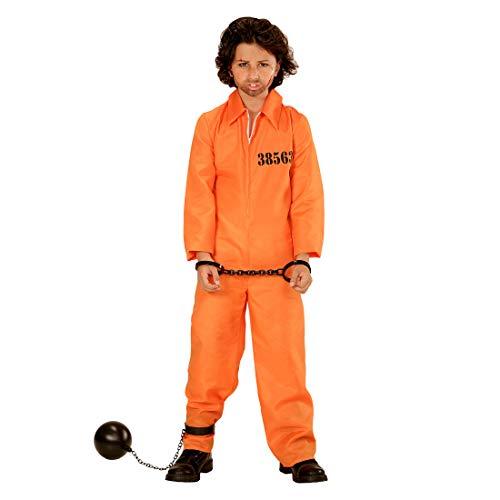 Amakando Originelles Häftling-Kostüm für Jungen & Mädchen / Orange 158, 11 - 13 Jahre / Gefängnis-Overall Gefangener Knasti / Bestens geeignet zu Mottoparty & Kinder-Fasching