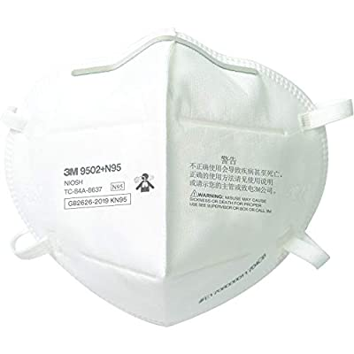 3M N95 Particulate Respirator 9502+, Disposable, Helps Protect Against Non-Oil Based Particulates, 50/Pack by 3M