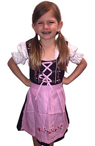 Kinder-Dirndl 3 teilig Dik01 Gr. 128, Trachten-Kleid pink-schwarz Dirndel-Bluse -Schürze für Oktober-Fest