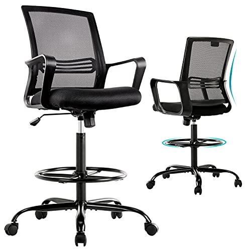 Drafting Chair Standing Desk Chair - Tall Office Chair with Armrest Office Stool Counter Height Mesh Chair with Adjustable Foot Ring - Black