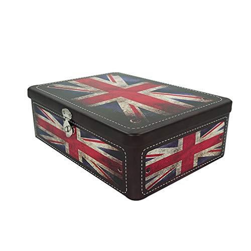Luwint Aufbewahrungsbox für Kekse, Motiv: amerikanische Flagge, mit Schlüssel und Schloss Style 2