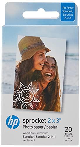 HP Sprocket Papel fotográfico Adhesivo Premium de Zink de 5 x 7.6 cm (20 Hojas) Compatible con Las impresoras fotográficas...