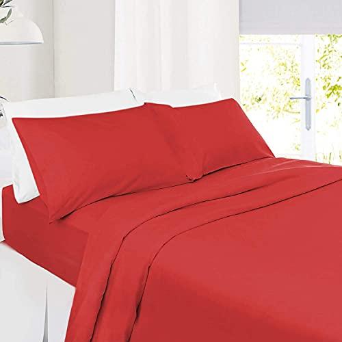 5 PC Split Cal-King| Red Bed Sheet Set 100% Organic Cotton Split Sheet Set for Adjustable Bed Long Staple Soft Cotton Yarns Premium 600 Thread Counts Split Sheet with Extra 26' Deep Mattress