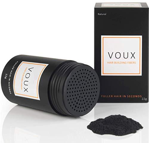 VOUX Streuhaar in Schwarz. Schütthaar bei Haarausfall. Volles Haar in Sekunden. Haarverdichtung. Natürlicher Look. Premium Apothekenqualität – 22g (Schwarz)