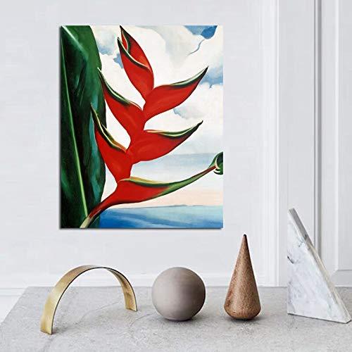 KWzEQ Georgia Fantasie Blattdruck auf Leinwand Wohnzimmer Hauptdekoration Moderne Wandkunst Ölgemälde,Rahmenlose Malerei,60x75cm