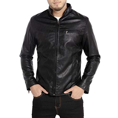 WULFUL Men's Stand Collar Leather Jacket Motorcycle Lightweight Faux Leather Outwear Black-M