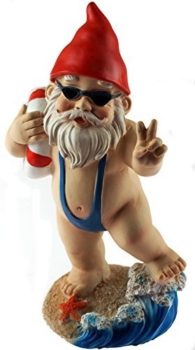 KT Large 21cm Funny Gnome Garden Ornament - Mankini/Life Ring Design