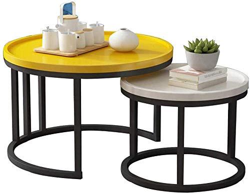 MJK Tisch, Home Beistelltische, 2er-Set Satztische, für Wohnzimmermöbel, Balkon-Couchtisch -Workbench,Gelb + Weiß